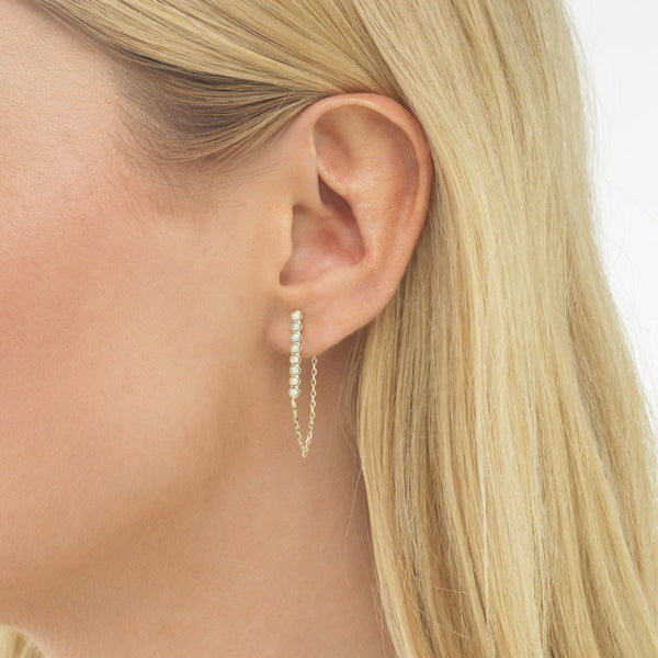 Opal Bezel Chain Stud Earring - Adina's Jewels