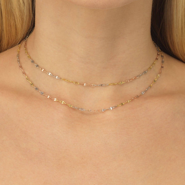 Tricolor Mariner Chain Necklace 14K