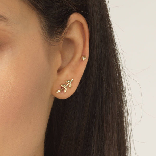 Leaf Stud Earring 14K - Adina's Jewels