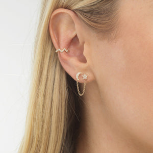 Diamond Zig Zag Ear Cuff 14K - Adina's Jewels