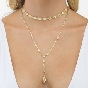 Box Link Shell Lariat  - Adina's Jewels