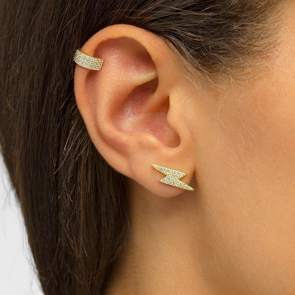 Large Lightning Stud Earring - Adina's Jewels