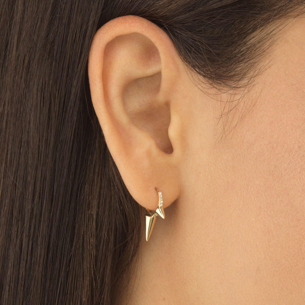 Diamond Triple Spike Huggie Earring 14K - Adina's Jewels