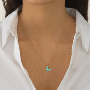 Turquoise Butterfly Necklace 14K  - Adina's Jewels