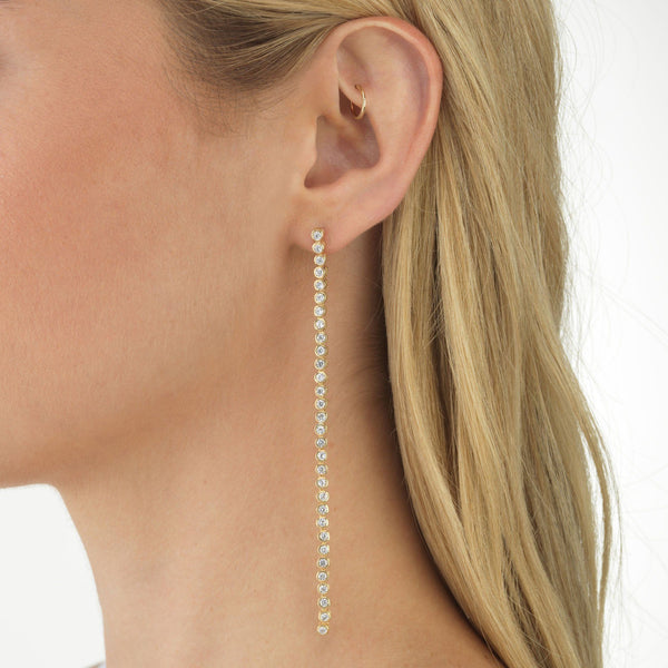 Bezel Drop Stud Earring