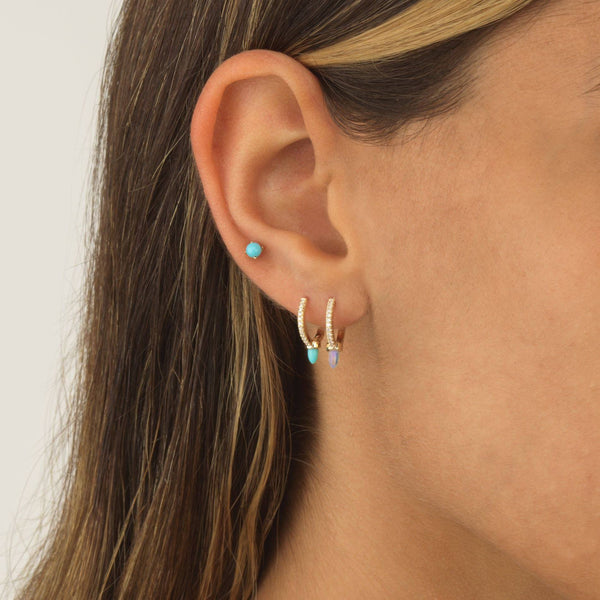 Turquoise Pearl Stud Earring 14K