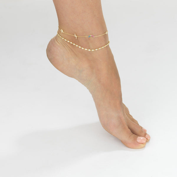 Bezel Chain Anklet - Adina's Jewels
