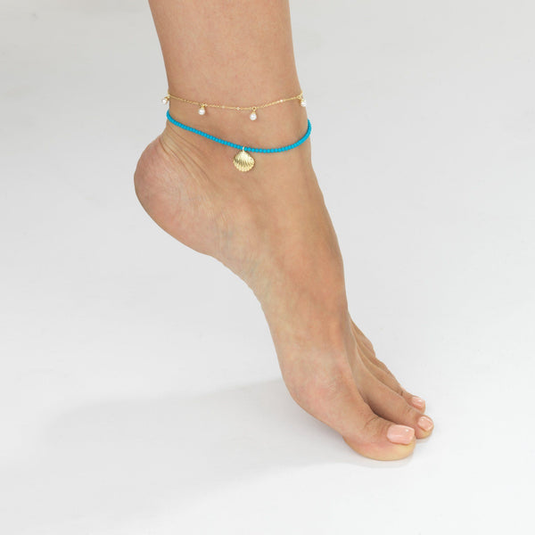 Turquoise Shell Anklet - Adina's Jewels