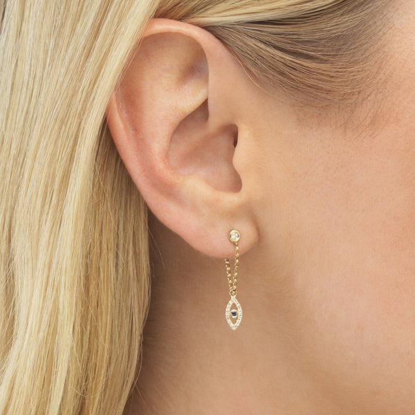Diamond Evil Eye Chain Stud Earring 14K
