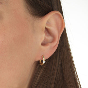 Single Stone Huggie Earring - Adina's Jewels