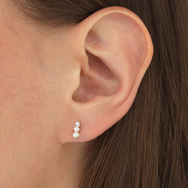 Layered Pearls Stud Earring - Adina's Jewels