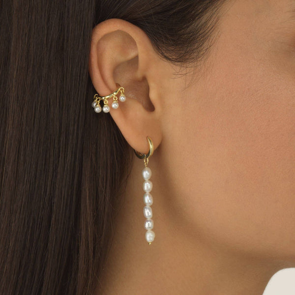Pearl Dangling Bar Huggie Earring - Adina's Jewels