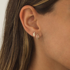 CZ Leaf Threaded Stud Earring 14K - Adina's Jewels