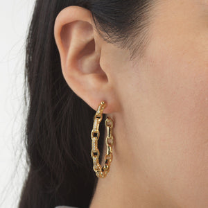 CZ Chain Hoop Earring  - Adina's Jewels