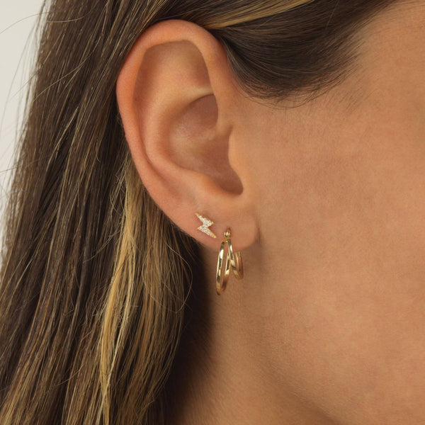 Lightning Bolt Threaded Stud Earring 14K
