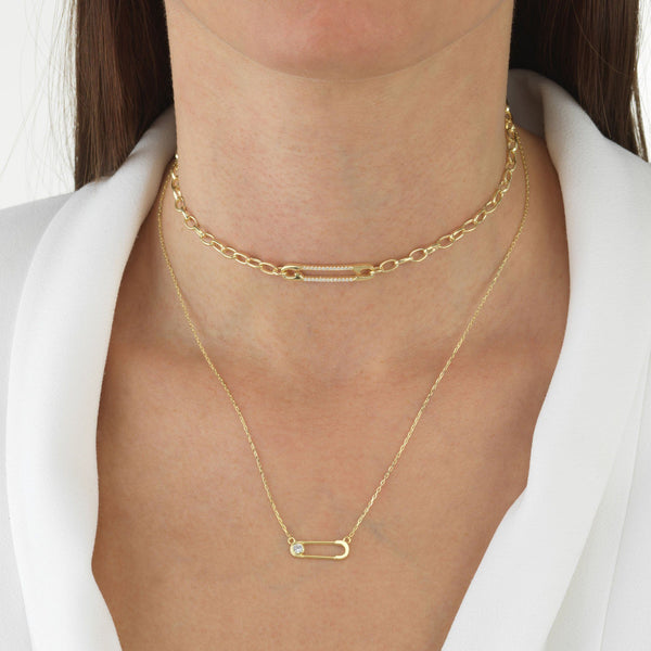 Safety Pin Necklace - Adina's Jewels