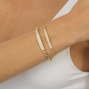 Pavé Bar Link Bracelet - Adina's Jewels
