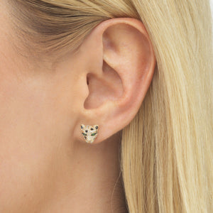 Diamond Emerald Panther Stud Earring 14K - Adina's Jewels