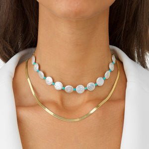 Pearl Disc Choker - Adina's Jewels