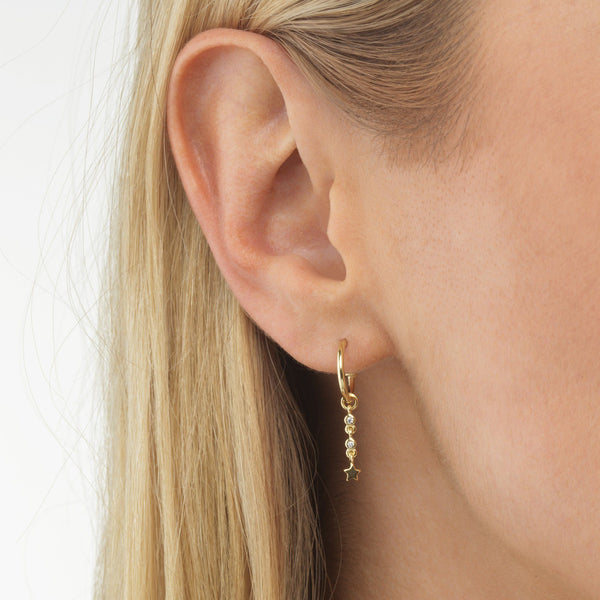 Star Bezel Hoop Earring - Adina's Jewels