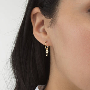 Lock Dangle Hoop Earring 14K  - Adina's Jewels