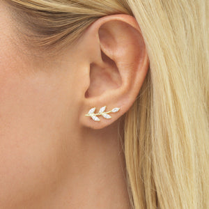 Colored Leaf Stone Ear Climber  - Adina's Jewels