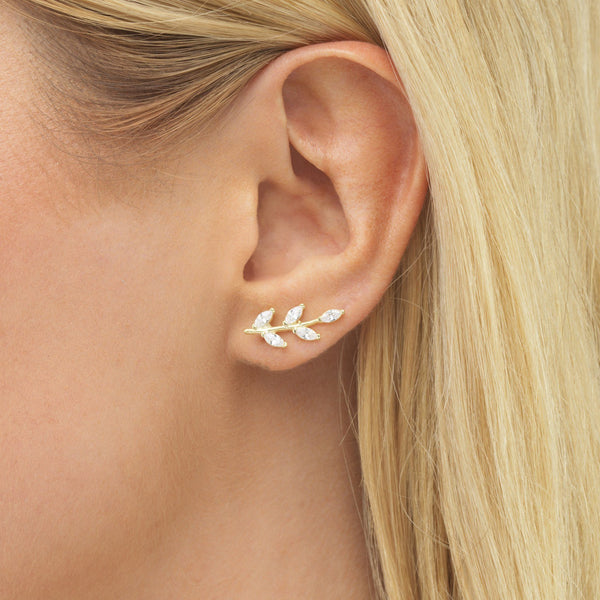 Leaf Stone Ear Climber - Adina's Jewels
