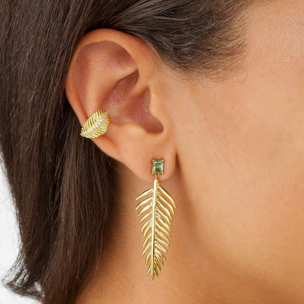Large Leaf Stone Stud Earring