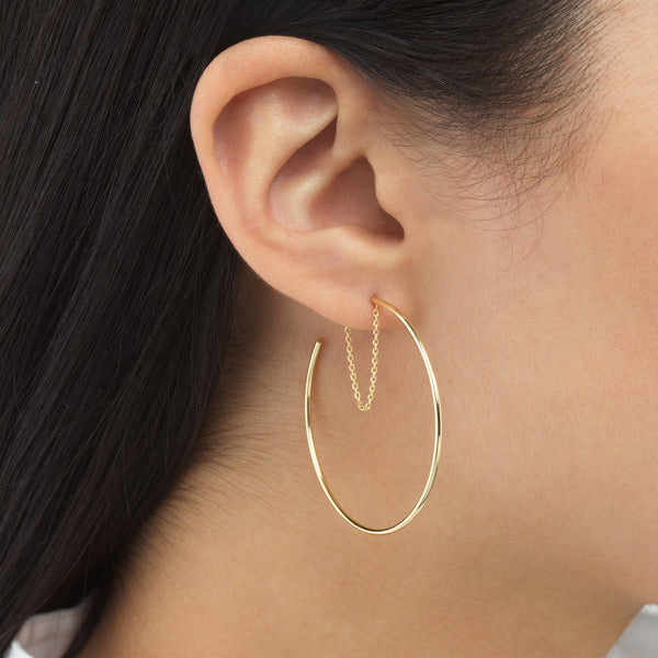 Chain Hoop Earring 14K - Adina's Jewels