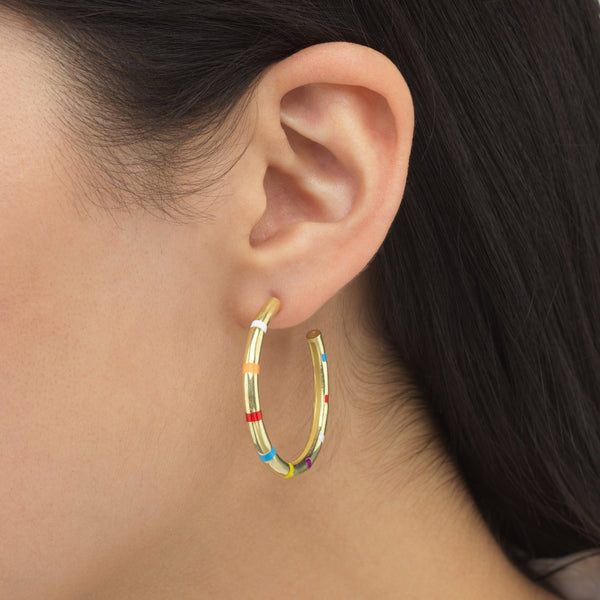 Striped Enamel Hoop Earring - Adina's Jewels