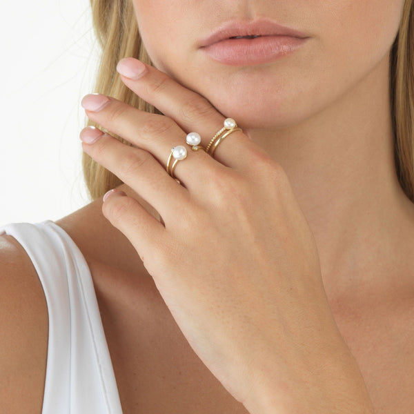 Double Pearl Adjustable Ring - Adina's Jewels