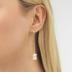 Old English Initial Drop Stud Earring  - Adina's Jewels