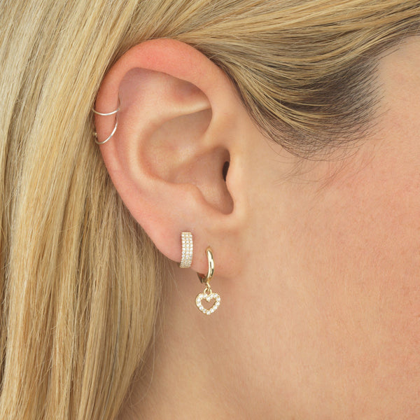 Open Heart Huggie Earring 14K - Adina's Jewels