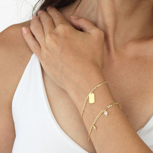Engraved Tag Chain Bracelet 14K - Adina's Jewels