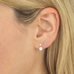 Solitaire Dangling Stud Earring 14K - Adina's Jewels