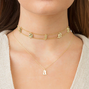 Gothic Initial Necklace 14K - Adina's Jewels