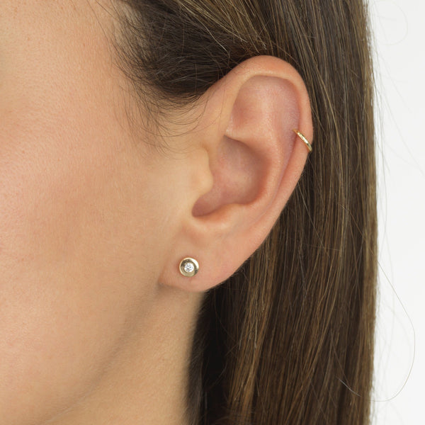 Circle CZ Stud Earring 14K - Adina's Jewels