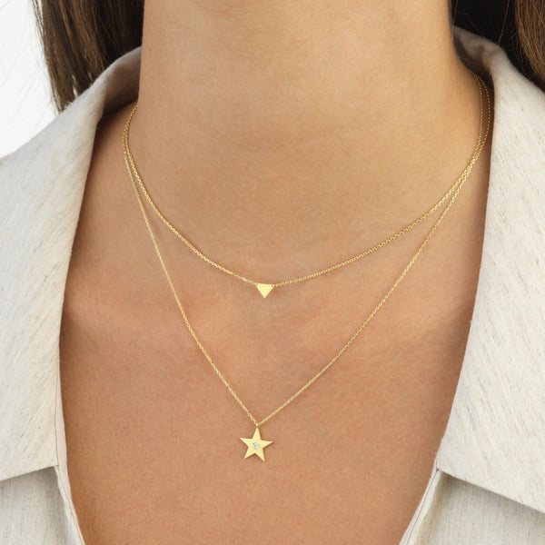 Triangle Necklace 14K - Adina's Jewels