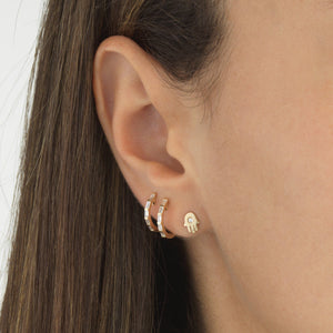Diamond Hamsa Stud Earring 14K - Adina's Jewels