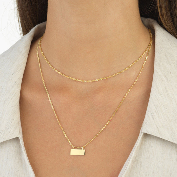 Engraved Bar Chain Necklace 14K - Adina's Jewels