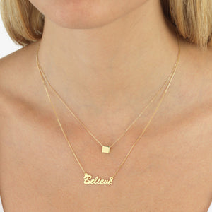 Engraved Square Pendant Necklace 14K  - Adina's Jewels