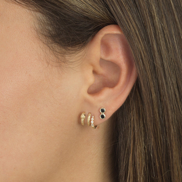 Double Bezel Stud Earring 14K - Adina's Jewels