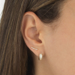 Triple Row Huggie Earring 14K  - Adina's Jewels