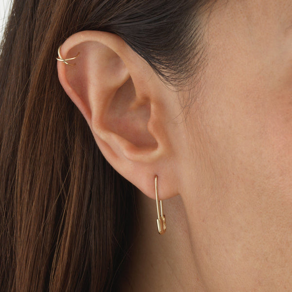 Safety Pin Earring 14K - Adina's Jewels