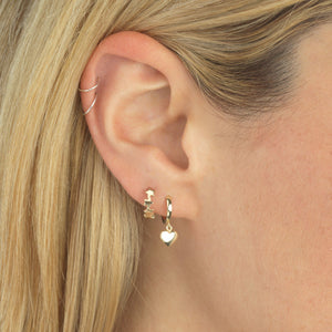 Mini Heart Huggie Earring 14K - Adina's Jewels