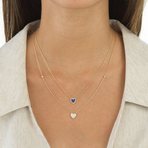 CZ Pavé Heart Necklace 14K - Adina's Jewels