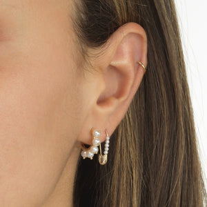 Diamond Pearl Safety Pin Earring 14K - Adina's Jewels