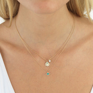 Diamond Shell Necklace 14K - Adina's Jewels