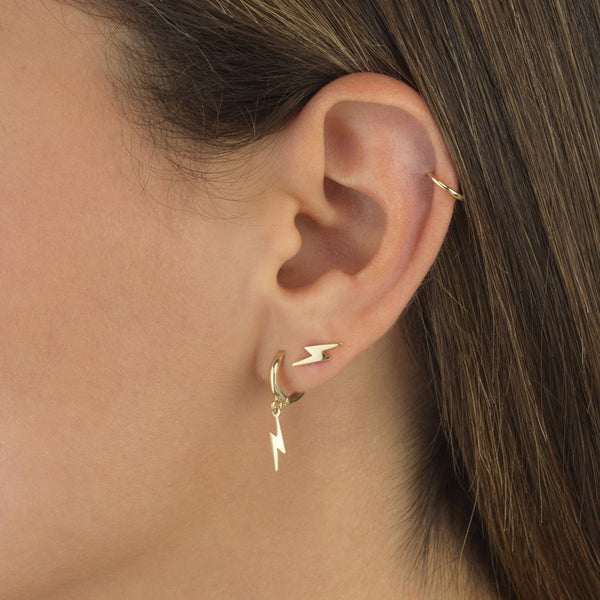 Solid Lightning Stud Earring 14K - Adina's Jewels