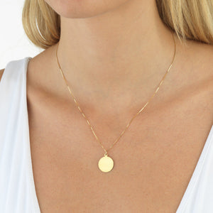 Engraved Disc Necklace 14K  - Adina's Jewels